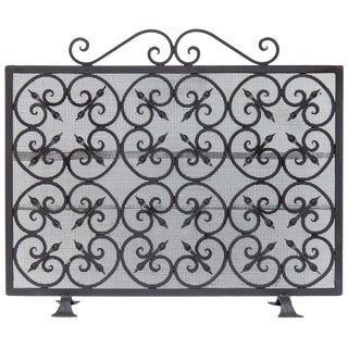 Antique Wrought Iron Fireplace Screen For Sale