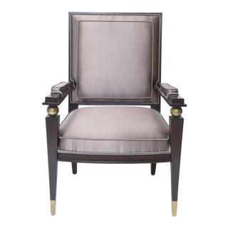 Jacques Quinet French Modern Dark Rosewood, Brass and Parcel-Gilt Armchair For Sale