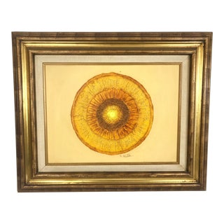 1980's Abstract Orange Circle Oil on Canvas Signed For Sale