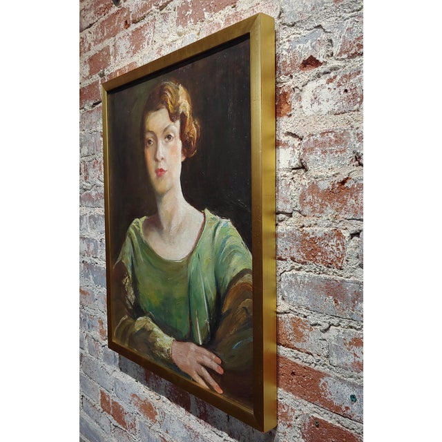 Canvas Antonia Greene -1920s Portrait of a Woman in Green -Oil Painting For Sale - Image 7 of 9