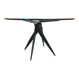 20th Century Brutalist Torch Cut Steel Dining Table For Sale