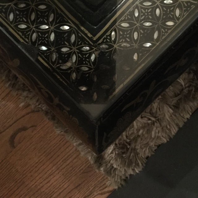 Glass 1920s Asian Lacquered and Inlaid Coffee Table For Sale - Image 7 of 9