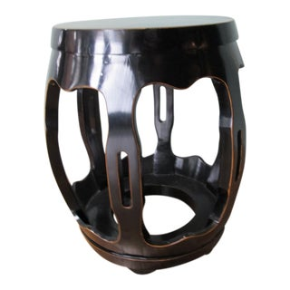 Black Lacquer Chinese Pumpkin Stool For Sale