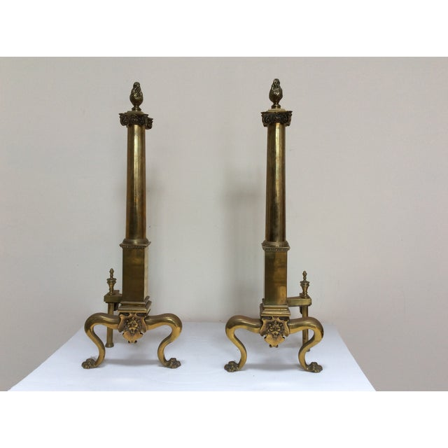 Antique English Fireplace Andirons - a Pair For Sale - Image 9 of 10