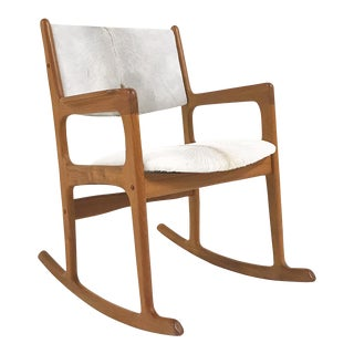 Mint Condition Danish Benny Linden Teak Rocking Chair Restored in Brazilian Calfskin