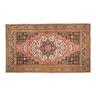"""Vintage Copper and Blur Hand Knotted Turkish Taspinar Rug 6'2"""" X 10'8"""" For Sale"""