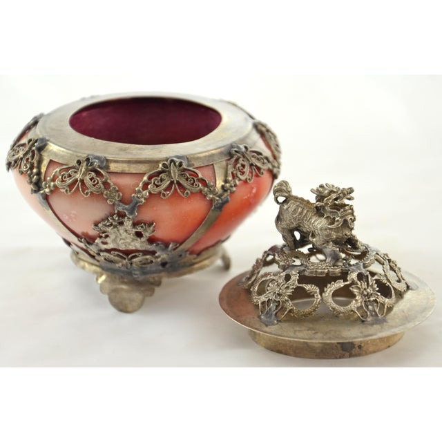Silver & Pink Onyx Foo Dog Censor - Image 5 of 9