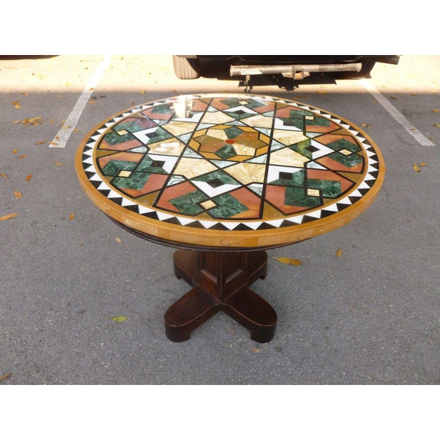 Glass 1990s Empire Stunning & Stylish Pietra Dura Inlaid Marble Table For Sale - Image 7 of 7
