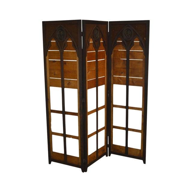 Gothic Renaissance Revival Antique Oak Folding Screen With Bronze Plaques For Sale