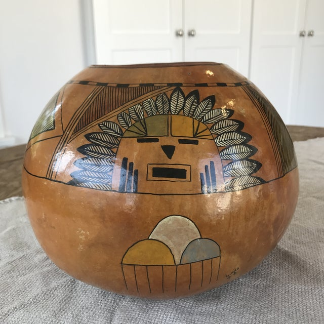 Vintage Hand Painted Gourd Hopi Sunface For Sale - Image 11 of 11