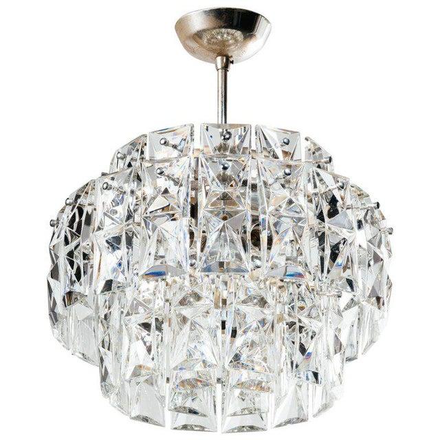 German Mid-Century Modern Faceted Crystal Chandelier by Kinkeldey For Sale - Image 11 of 11