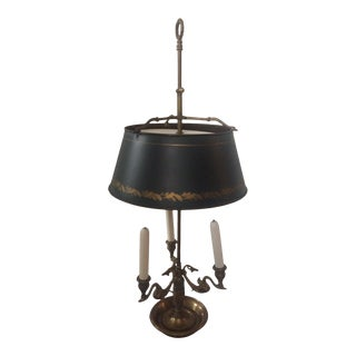 Vintage 1950s Brass Bouliotte Lamp With Green Tole Shade For Sale