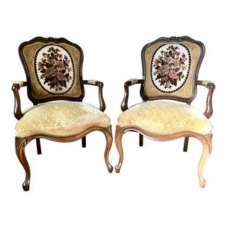 Vintage French Provençal Style Velvet Bergère Chairs For Sale
