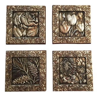 Florentine Gold Wall Plaques - Set of 4 For Sale