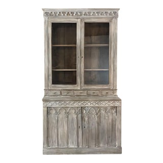 19th Century French Gothic Whitewashed Bookcase For Sale