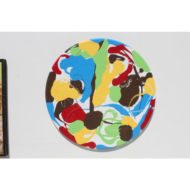 White Contemporary Modern Round Thick Pallet Art For Sale - Image 8 of 8