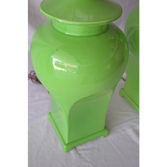 Chinoiserie Vintage Chinoiserie Style Lime Green Lamps - A Pair For Sale - Image 3 of 6