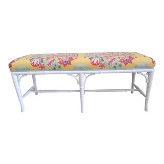 Upholstered Faux Bamboo Bench For Sale