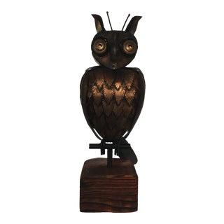 1960s Brutalist Goolgly Eyed Owl Sculpture For Sale