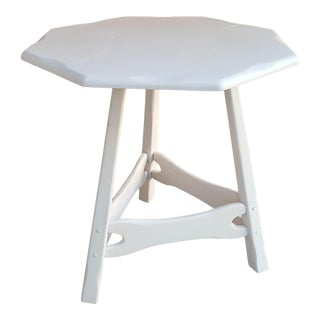 1950s White Country Cottage Side Table For Sale