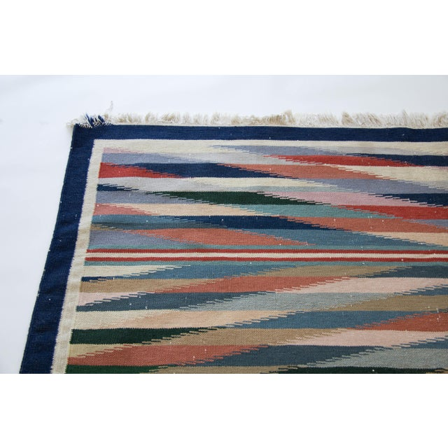 "Multicolor Dhurrie Area Rug - 6' X 8'6"" - Image 5 of 7"