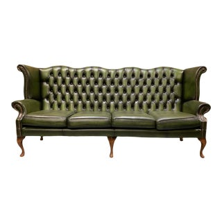 Vintage Mid-Century English Leather Chesterfield 4 Seat Sofa, Green For Sale