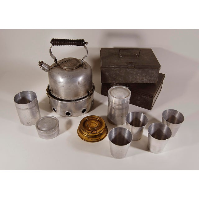 English Vintage English ' Sirram ' Wicker Kettle & Tea Service for 4 Picnic Set - 45 Pieces For Sale - Image 3 of 11