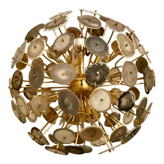 Modern John Richard Agate Sliced Orb Chandelier