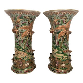 """Pair Antique 19th Century """"Samson"""" Marked Porcelain Urns With Most Exceptional High Relief, Circa 1860-1880. For Sale"""