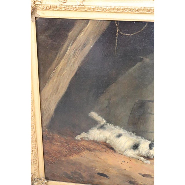 Canvas 19th Century English Oil Painting on Canvas With Golden Frame by George Armfield For Sale - Image 7 of 13