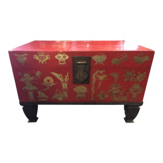 Antique Chinese Leather Trunk on Stand For Sale
