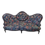 Image of 19th Century Antique Victorian Rosewood Wide Floral Settee For Sale