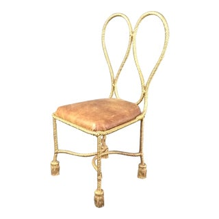 1950s Vintage Italian Brass Rope Side Chair For Sale