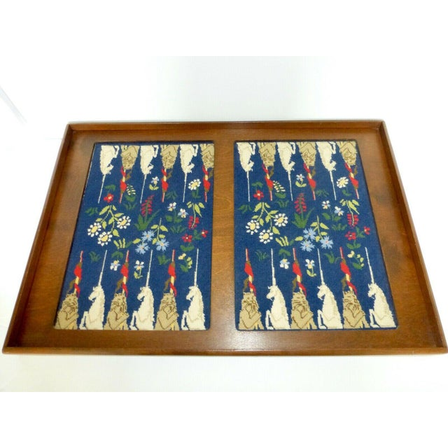Mid-Century Framed Needlepoint Embroidered Backgammon Board Game Lions Unicorns Floral For Sale - Image 9 of 9