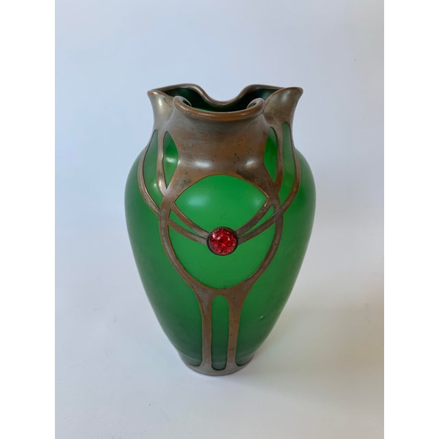 Emerald Antique Art Nouveau Emerald Green Vase With Silver Overlay and Jewel For Sale - Image 8 of 8