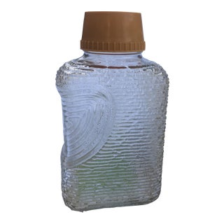 Vintage 60s Wood Grain Glass Bottle Pitcher For Sale