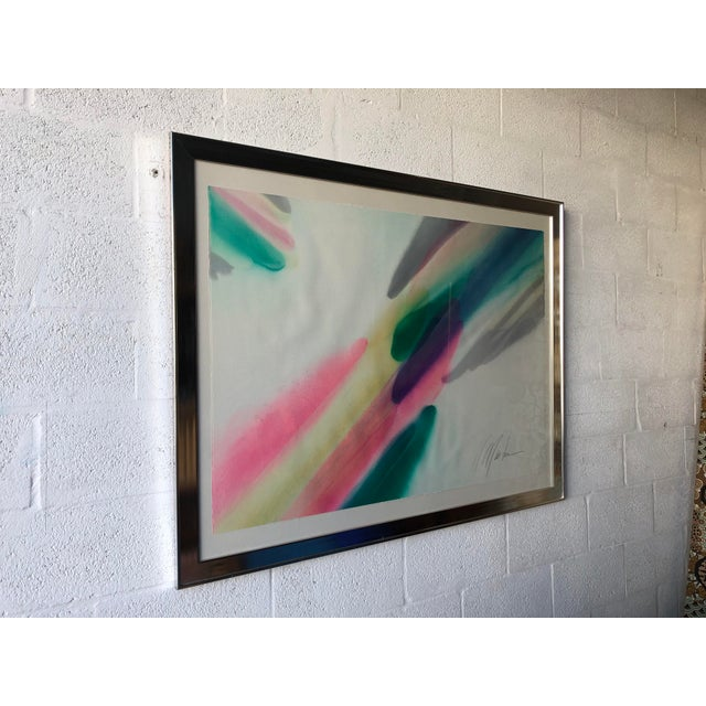 Large Vintage Mid Century Modern modern Abstract Expressionist wash acrylic painting on paper in the style of Helen...