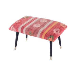 Pasargad Home Bosphorus Collection Pink & Red Kilim Cover Ottoman For Sale