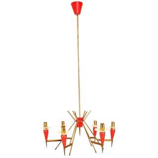 Red Mid Century Modern White Italian Chandelier Sputnik Style Stilnovo Attr For Sale