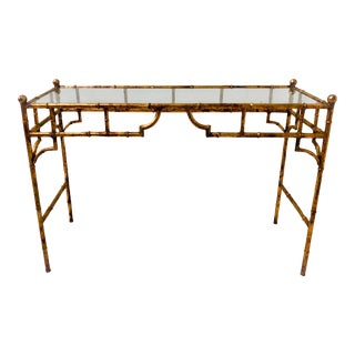 Gilt Metal Italian Faux Bamboo Console Table For Sale