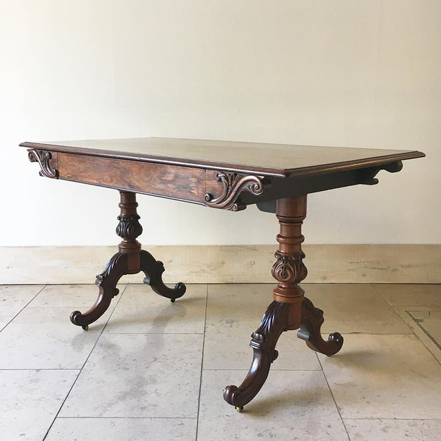 A Rare Regency Irish Polished Mahogany Carved Side Table by Mack Williams and Gibton incised with makers mark on inside of...