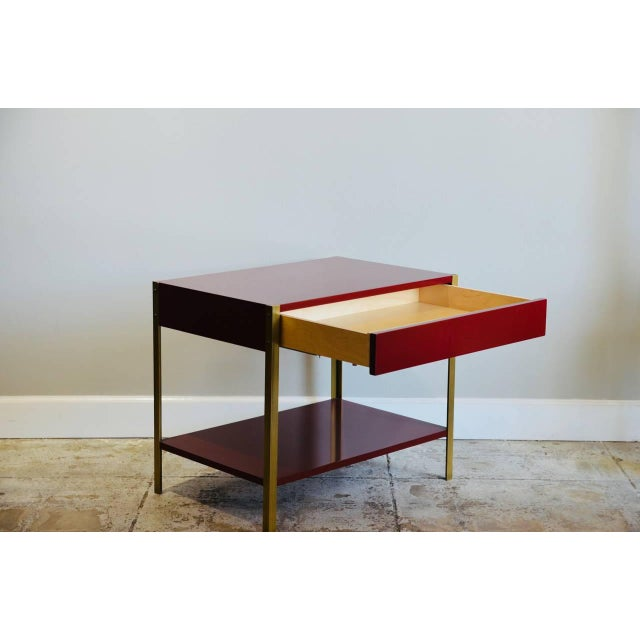 Modern Pair of 'Laque' Oxblood Lacquer and Brass Nightstands by Design Frères For Sale - Image 3 of 6