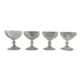 Vintage Clear Teardrop Old Fashion Champagne Glasses S/4 For Sale