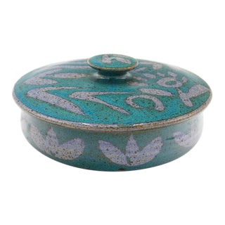 Turquoise Studio Pottery Ceramic Lidded Bowl For Sale