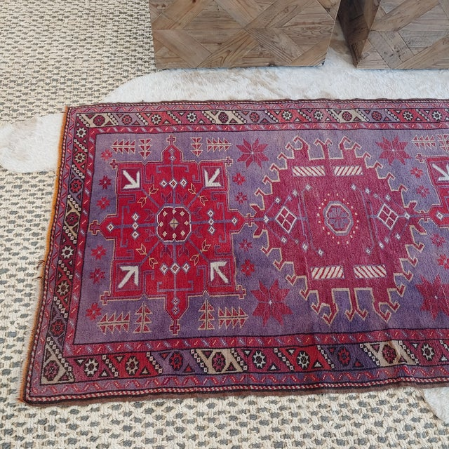Mid Century Pink and Purple Heriz Rug For Sale In Charleston - Image 6 of 13