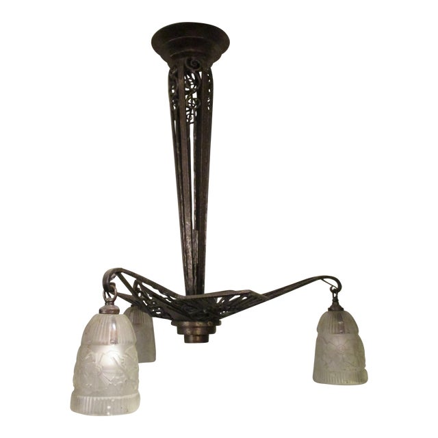 Art Modern French Wrought Iron 3-Light Chandelier For Sale