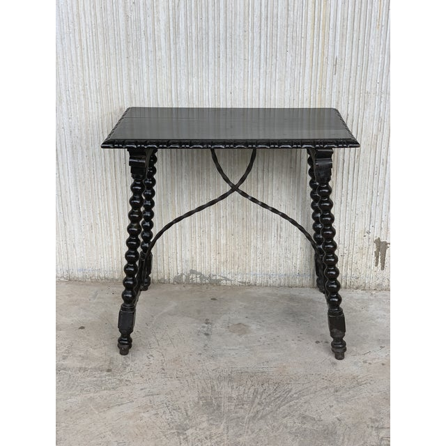 Metal 19th Spanish Baroque Side Table With Iron Stretcher and Carved Top in Walnut For Sale - Image 7 of 12