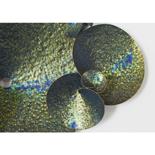 Abstract Blue and Gold Lotus Iron Wall Sculpture by Fabio Ltd For Sale - Image 3 of 7