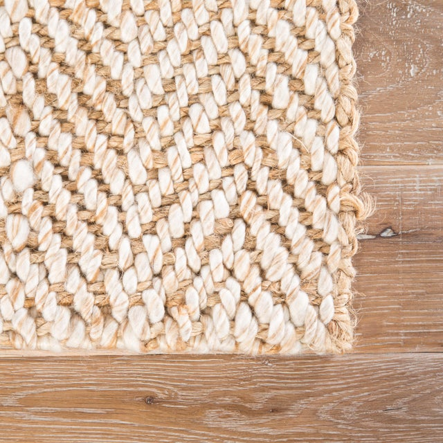 Contemporary Jaipur Living Haxel Handmade Chevron Beige/ White Area Rug - 5' X 8' For Sale - Image 3 of 6