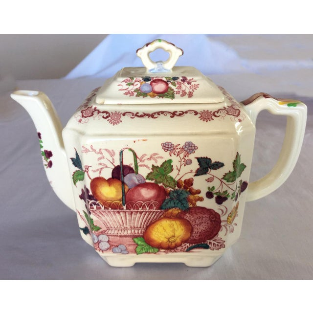 Vintage Mason's Red Multicolor Fruit Basket Ironstone Teapot For Sale - Image 10 of 10